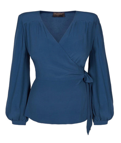Riviera Peplum Wrap Blouse in Petrol Crepe - Bombshell London