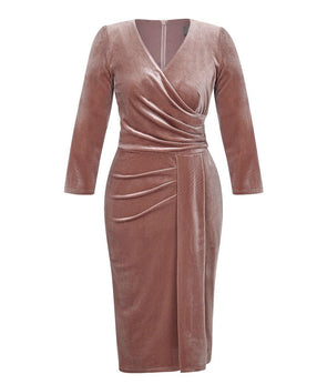 Blush Velvet 'Stretch Luxe' Bombshell 3/4 Sleeve Jersey Dress