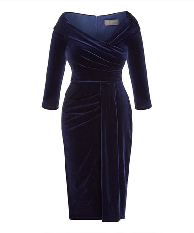 NOW IN Navy Velvet Edge of the Shoulder Dress
