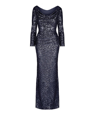 Hollywood Midnight Blue Sequin Evening Gown Evening Ball Summer Winter Wedding Event