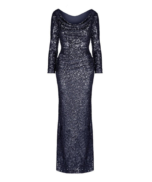 navy midnight blue sequin dress long sequin ball gown mother of the bride wedding gust evening gown