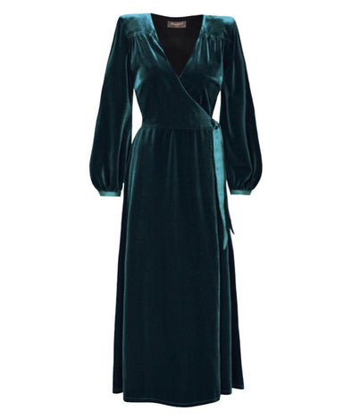 Luxury Velvet Bombshell Robe in Dark Green - Bombshell London
