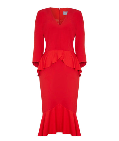Ooh La La Bombshell 3/4 Sleeve Dress Red