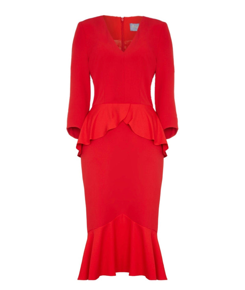 red nigella Marilyn fishtail wiggle dress