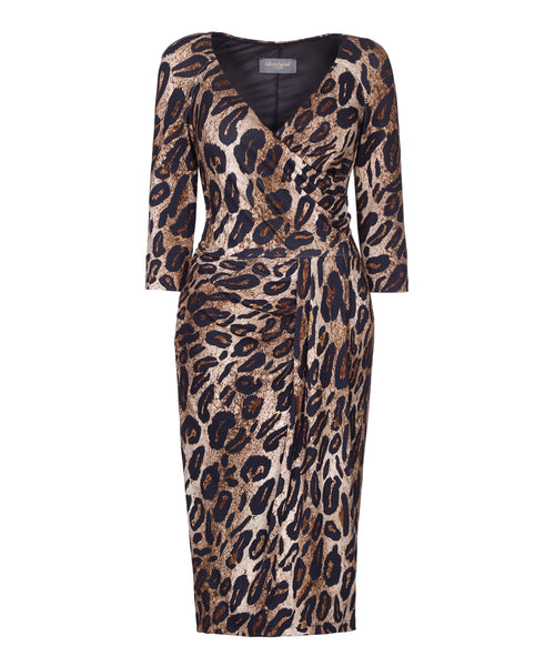 leopard wiggle bombshell dress with sleeves