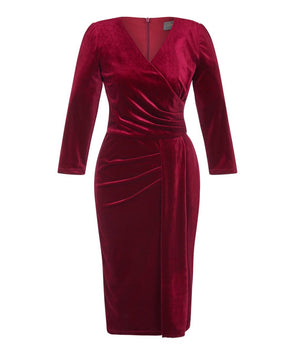 Wine Velvet 'Stretch Luxe' Bombshell 3/4 Sleeve Jersey Dress