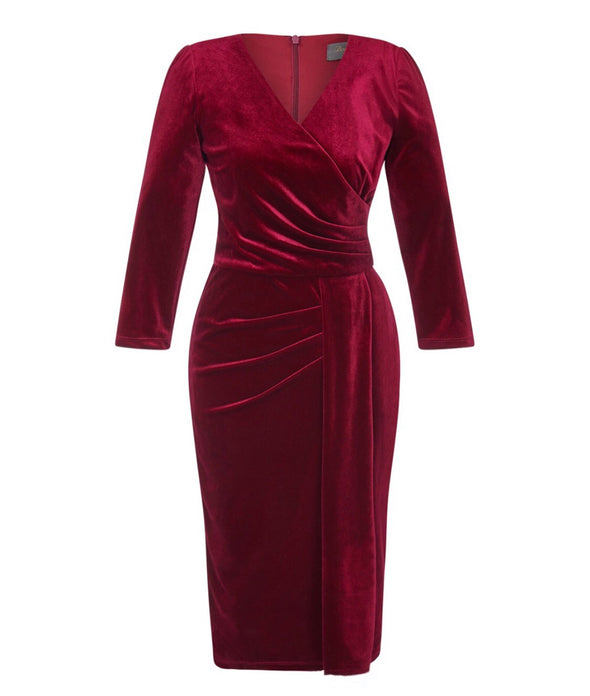 3/4 Sleeve Wine Velvet Dress
