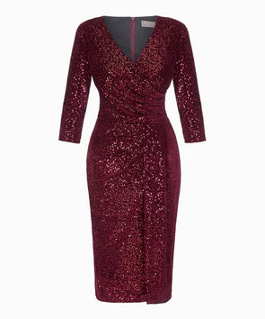 Wine Velvet Sequin 'Stretch Luxe' Bombshell 3/4 Sleeve Velvet Dress