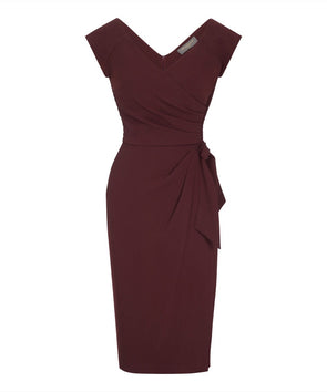 Confident Wine Cap Sleeve Dress