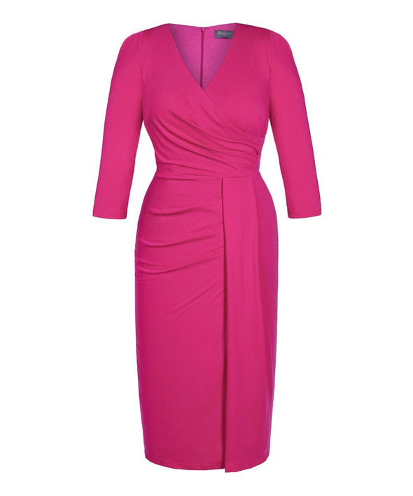 NEW Bombshell Pink Jersey Stretch Luxe Dress 3/4 Sleeve