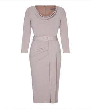 Dove Grey 3/4 Sleeve Stretch Luxe Scoop Neck Dress