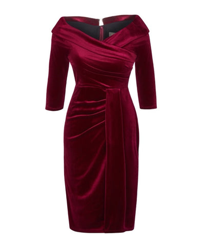 NOW IN Wine Velvet Edge of the Shoulder Dress Bombshell Dress