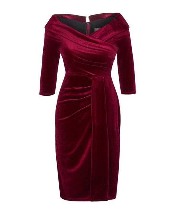 Wine Velvet Edge of the Shoulder Dress Bombshell Dress