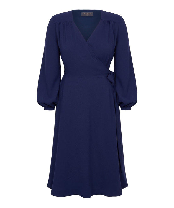 Bell Sleeve Wrap Dress in Navy Crepe