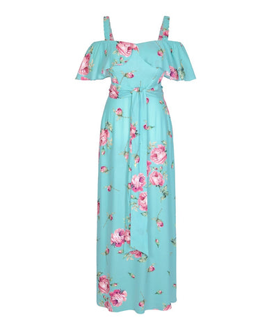 Portobello Aqua Roses Dress Off Shoulder Cold Shoulder Summer