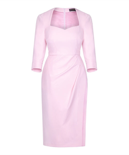 pale pink wedding guest dress sweetheart neckline mother of the bride pink