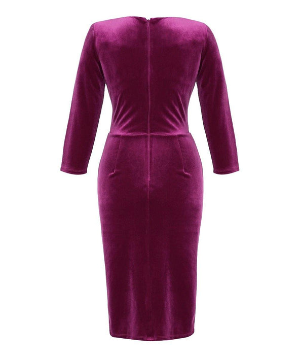 Cerise Velvet Bombshell 3/4 Sleeve 'Stretch Luxe' Dress