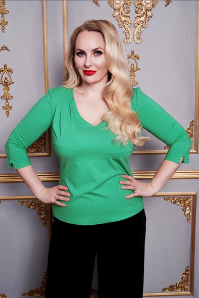 The Classic V Neck Top in Parakeet Green - Arrives Fri 16th April