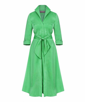 Leaf Green Grace Tie Front Shirt Dress