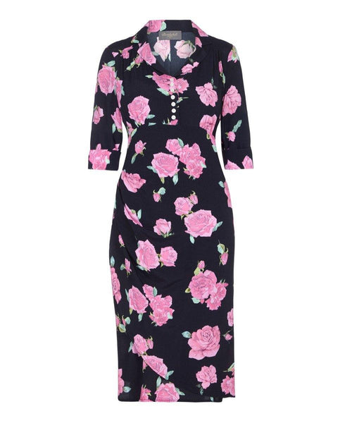 1940's style tea dress dress with sleeves past the knee dress