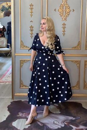 SAMPLE SALE Navy Big Dots Bombshell Tie Sleeves 'Edge of the Shoulder' Dress