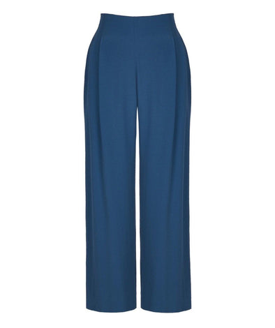 Riviera Palazzo Trousers in Petrol - Bombshell London