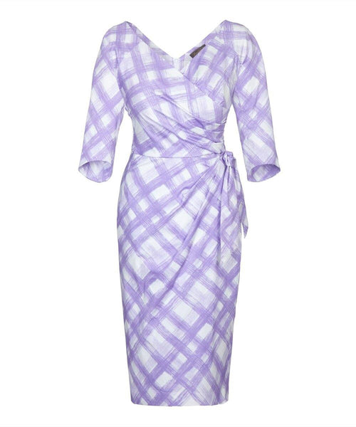 lilac gingham wrap print wrap bombshell dress mother of the bride