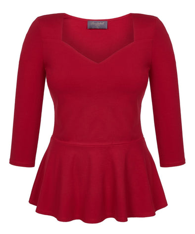 Red Sweetheart Top with Peplum