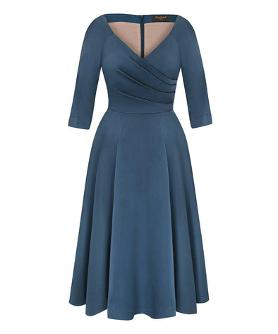 NEW Edge of the Shoulder Midi Cotton Bombshell Dress in Heron