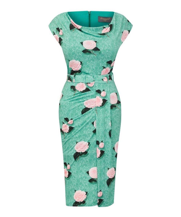 Green Botanical Stretch Luxe' Scoop Neck Bombshell Cap Sleeve Jersey Dress