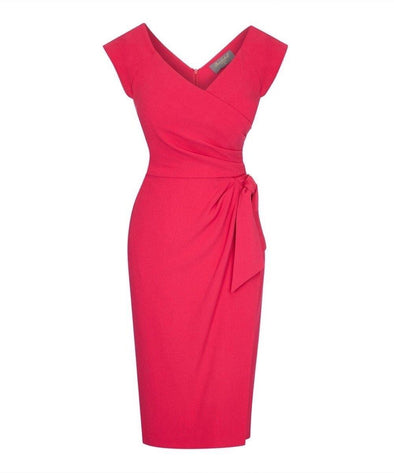 Bombshell Bright Pink Cap Sleeve Confident | Mother of the Bride Wedding Guest Dress