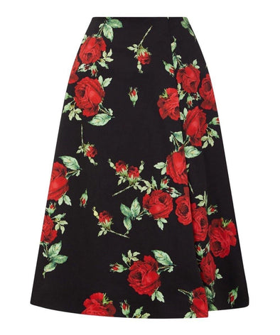 Darcey Black and Red Roses Bombshell Skirt