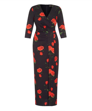 Black Roses Stretch Luxe Bombshell 3/4 Sleeve Maxi Dress