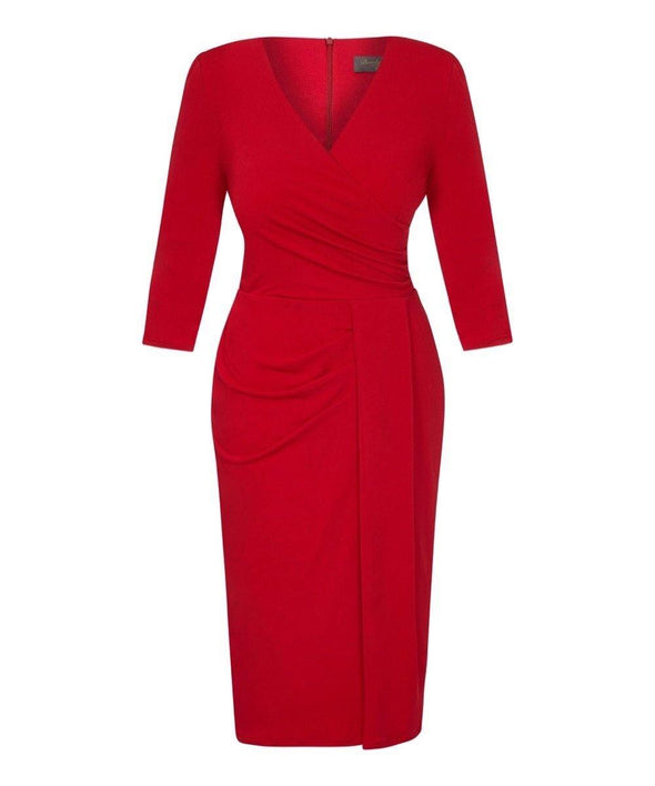 Bright Red Stretch Luxe Bombshell 3/4 Sleeve Jersey Dress | Mother of the Bride Wedding Guest Dress