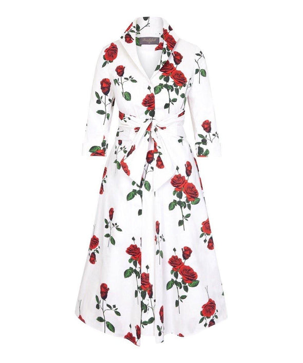 Cliveden Roses White and Red Grace Tie Front Shirt Dress