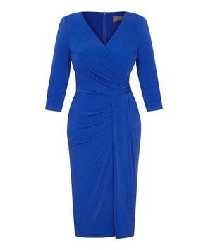 Bright Blue Stretch Luxe Bombshell 3/4 Sleeve Jersey Dress | Mother of the Bride Wedding Guest Dress