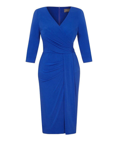 Bright Blue Stretch Luxe Bombshell 3/4 Sleeve Jersey Dress