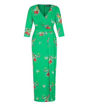 Green Wild at Heart Stretch Luxe Bombshell 3/4 Sleeve Maxi Dress