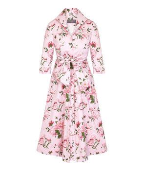 Pink Peony Grace Tie Front Shirt Dress