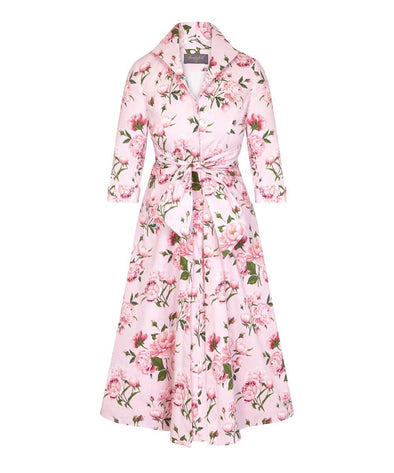 Pink Peony Grace Tie Front Shirt Dress | Mother of the Bride Wedding Guest Dress