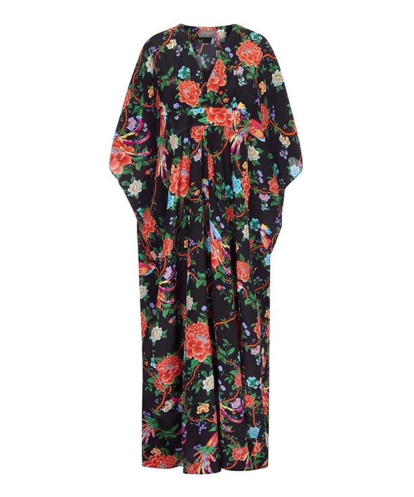 Bombshell Liberty Print Silk Kaftan Dress in Katya's Paradise Print
