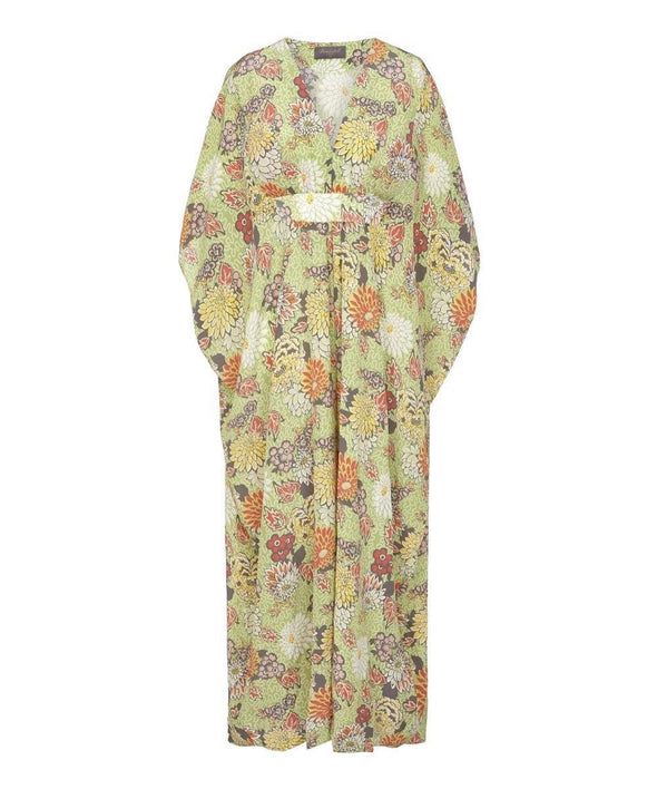 Bombshell Kaftan Dress made with Liberty Silk Meandering Chrysanthemum Print