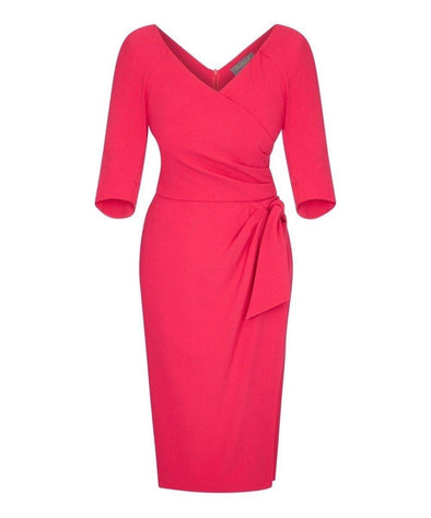 Bright Pink Confident Bombshell 3/4 Sleeve Dress