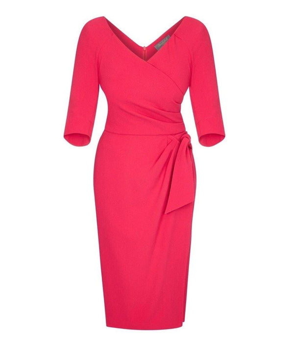 Bright Pink Moss Crepe Bombshell 3/4 Sleeve 'Confident' Dress
