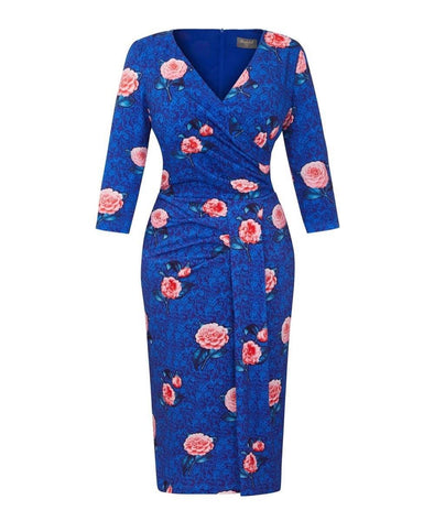Blue Botanical Stretch Luxe Bombshell 3/4 Sleeve Jersey Dress