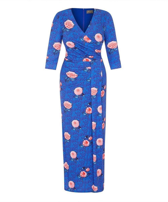 Blue Botanical Maxi Dress, perfect for wedding, events, summer balls, graduation, cocktail party, Henley