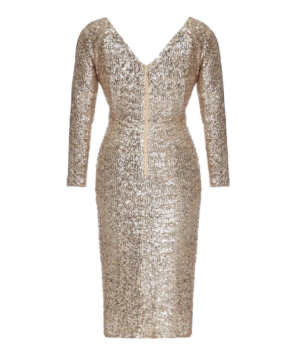 Hollywood Gold Sequin Cocktail Dress