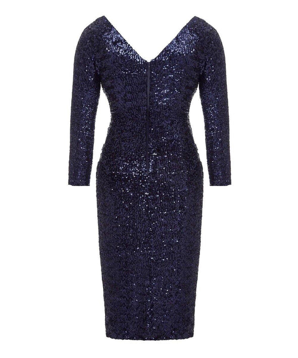 Hollywood Sequin Midnight Blue Cocktail Dress