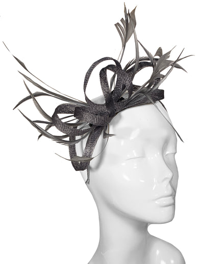 Grey Fascinator Hat