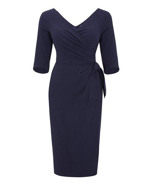 navy nigella lawson mother of the bride dress wedding guest dress with sleeves wrap